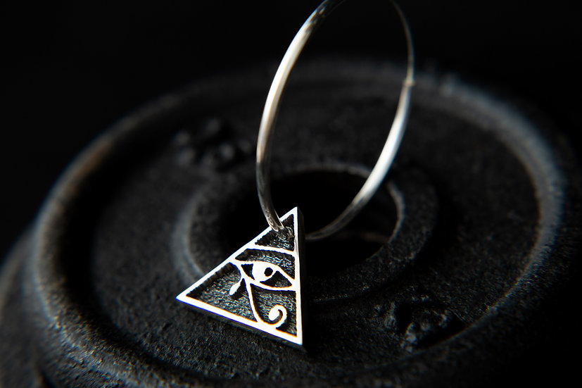 Eye of Horus, Pyramid pendant large hoop earrings. 925 Sterling Silver