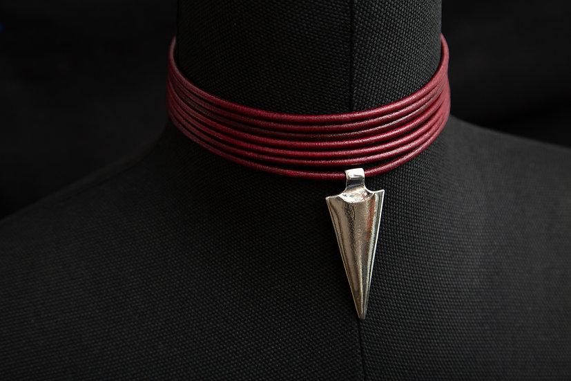 Catori Niyati. Tribal 7 band red leather choker with 925 silver Arrow pendant