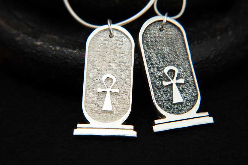 Egyptian Cartouche and Ankh pendant. 925 Sterling silver amulet