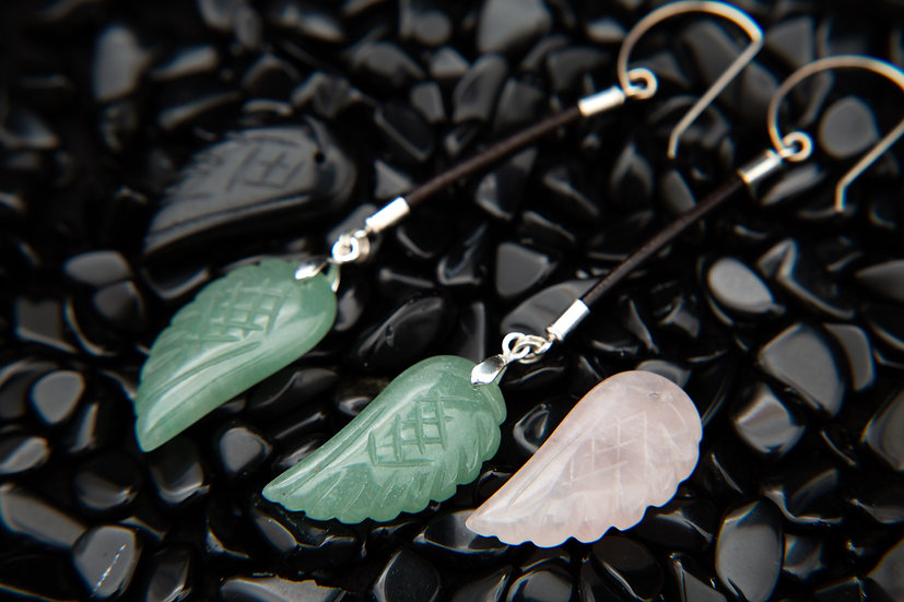 Parisa - Gemstone angel wing long feather earrings. Aventurine, rose quartz