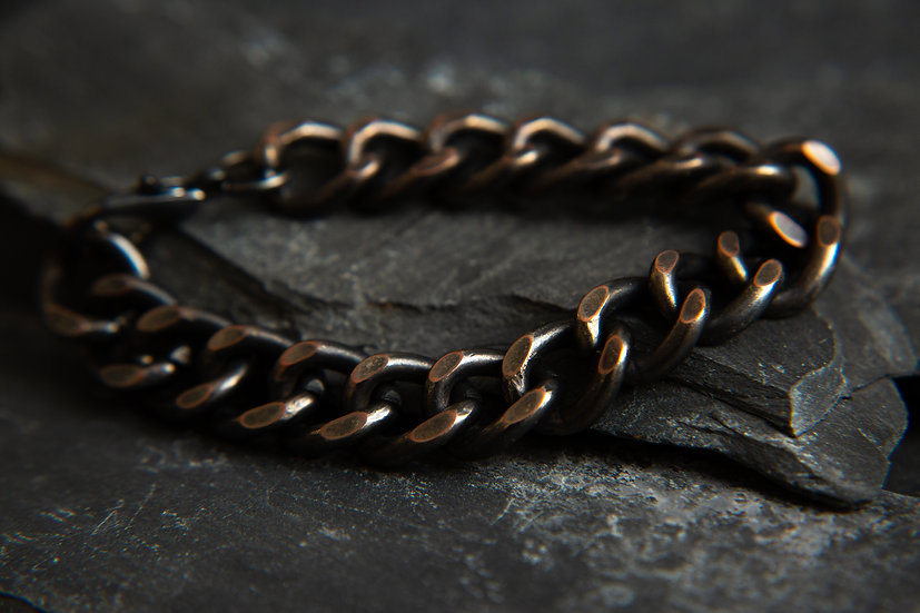 Mens Very Chunky and heavy oxidised black and copper curbed bracelet or anklet