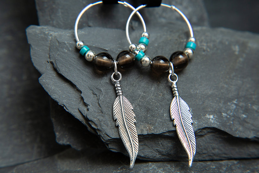 Anasuri. Silver feather hoop earrings with Smokey Quartz, other gemstones avail.