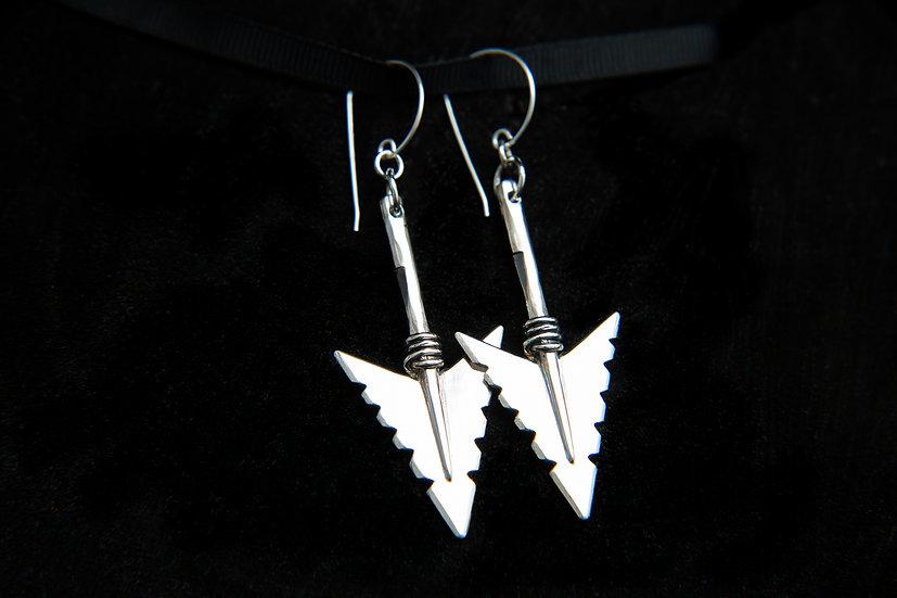 Cheveyo. Tribal Silver Arrowhead Earrings. 925 Sterling Silver arrow earrings.