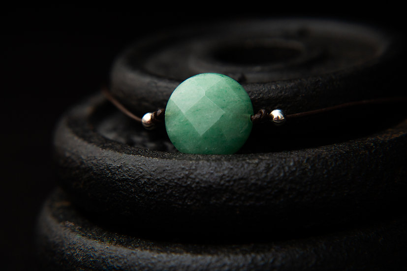 Neve. Faceted Green Aventurine gemstone strung on brown leather. Sterling Silver