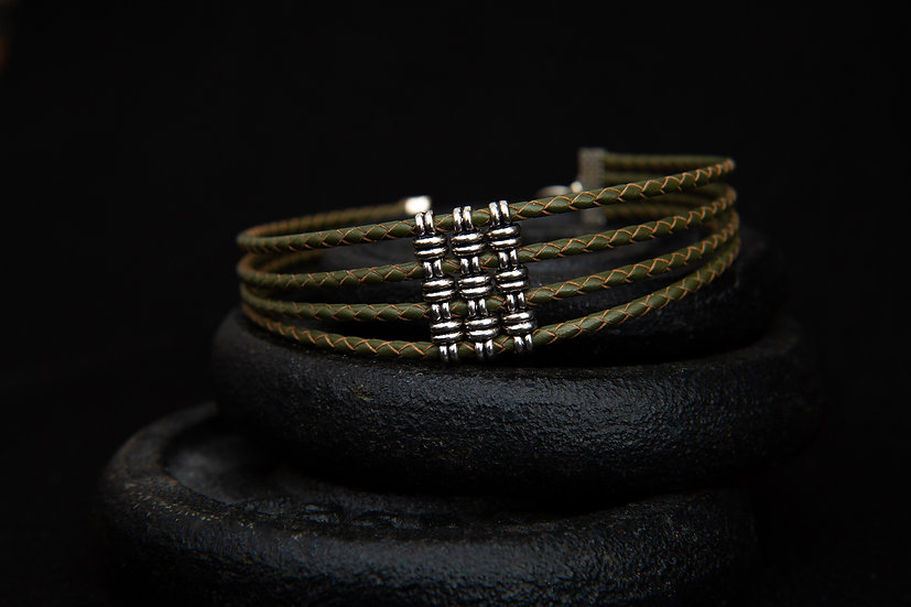 Anjea Olive Green 4 band Tribal Braided Leather Choker with sliders