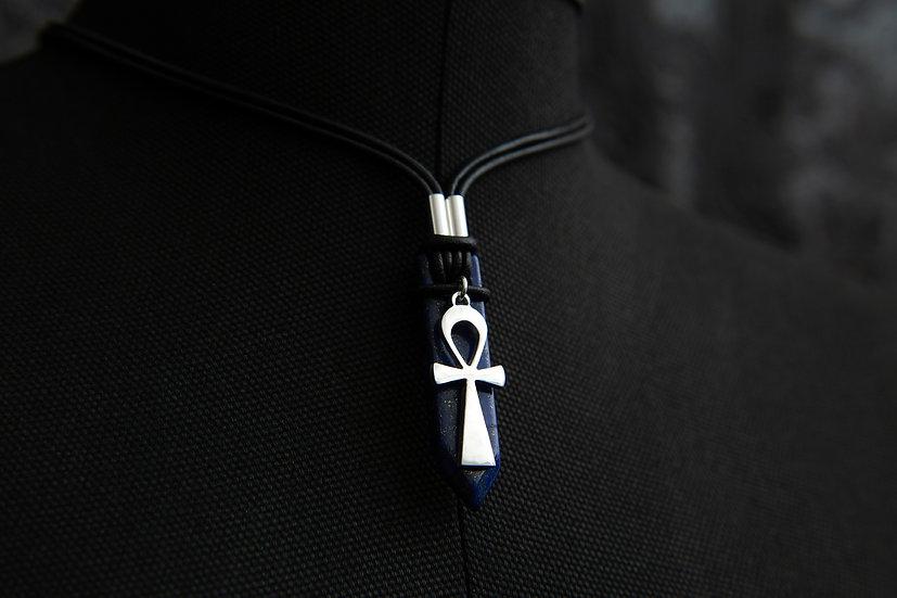 Shu. Tribal gemstone arrow with Egyptian Ankh, key of life pendant. 925 Silver