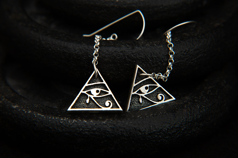 Safiya. Eye of Horus Pyramid dangle earrings. Two lengths available.