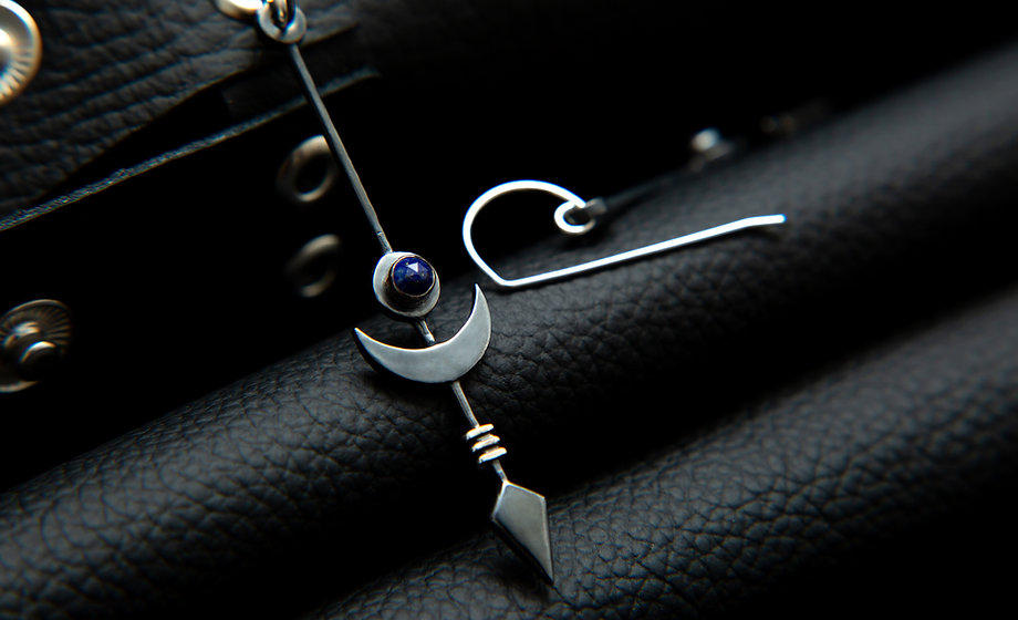 Midnight black silver moon sun earrings by molax chopa tribe