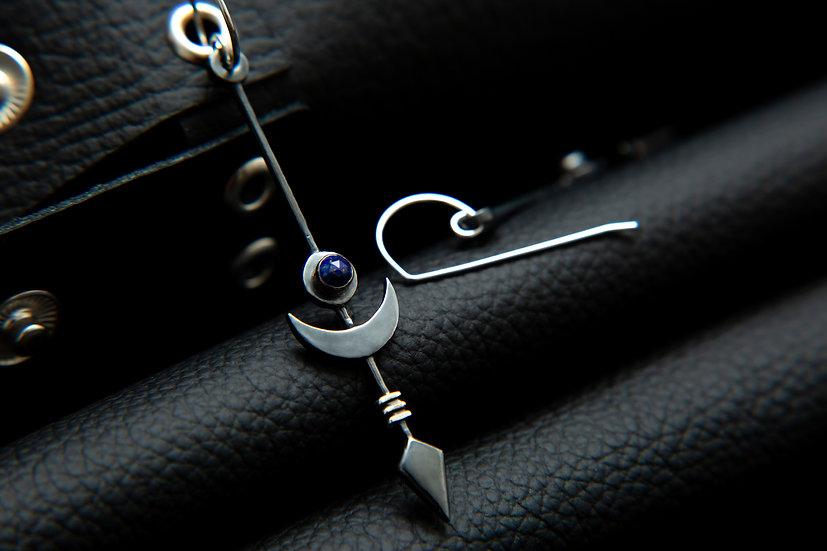 Midnight Eclipse Moon, arrow & Gemstone earrings. Blackout Sterling Silver.
