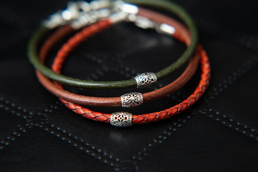 Tozi. Leather bracelet with tribal silver bead. Various Colour available