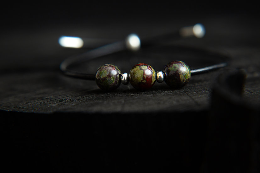 Kwan. Dragons Blood Stone bracelet. Sterling silver leather gemstone bracelet