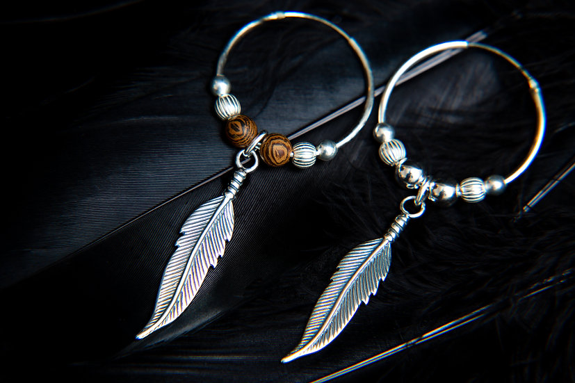 Anasuri, Silver feather hoop tribal earrings. 925 Sterling Silver
