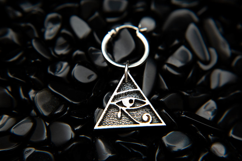 Mens single earring and pendant. 925 Silver Eye of Horus Pyramid with hoop