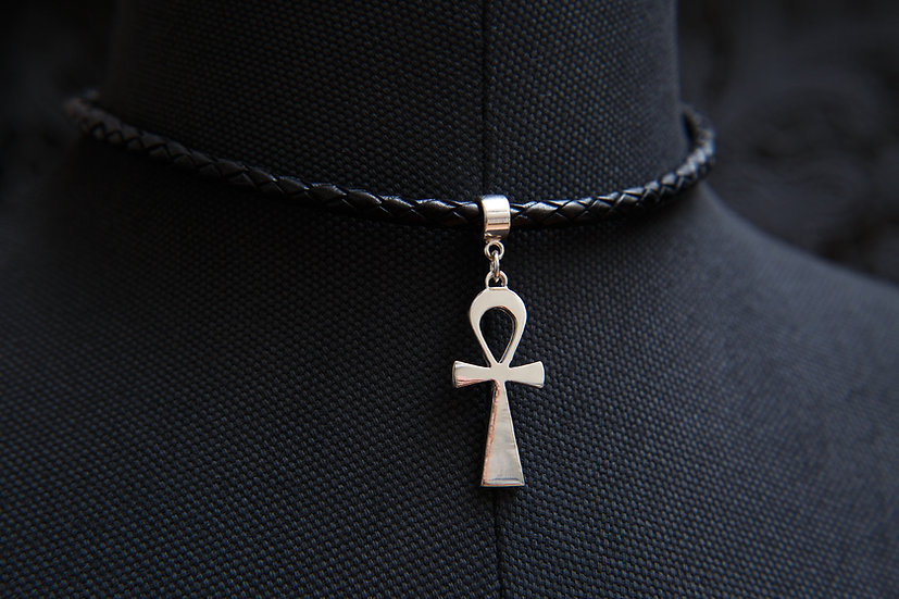 Ahava, Egyptian Ankh pendant, thick leather choker. Sterling silver.