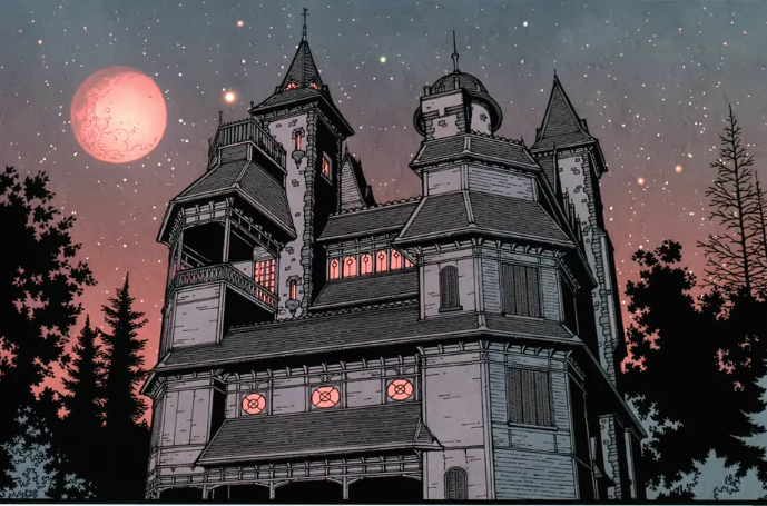 The Locke Mansion in the graphic novels. Image: IDW