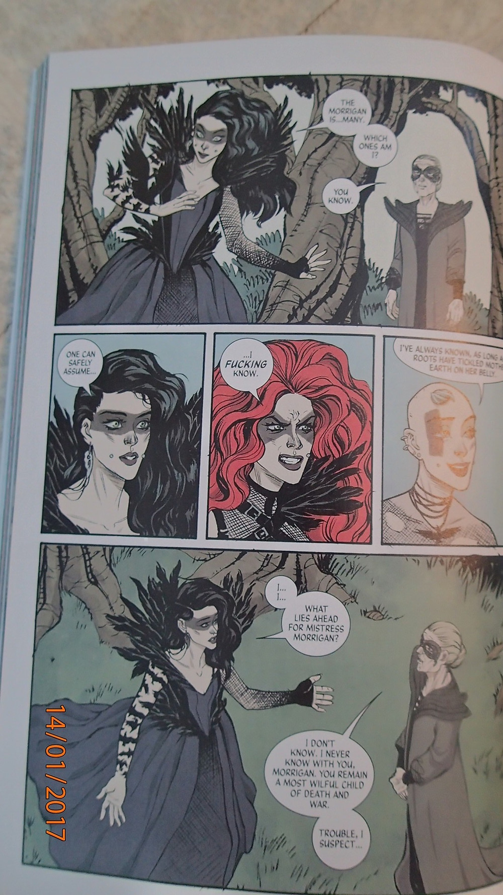 """Page from """"The Wicked + The Divine"""" of The Morrigan/Babd that was used as the inspiration for this tutorial."""