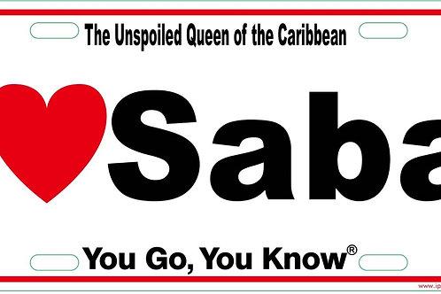 I heart Saba Licences Plate