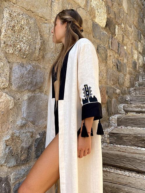 Beige Embroidered Kaftan