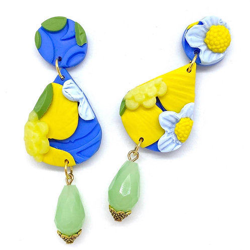 Teardrop Blue and Yellow Flower Pattern Earrings