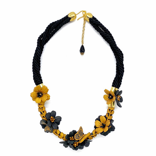 Butterflies and Hollyhocks Statement Necklace