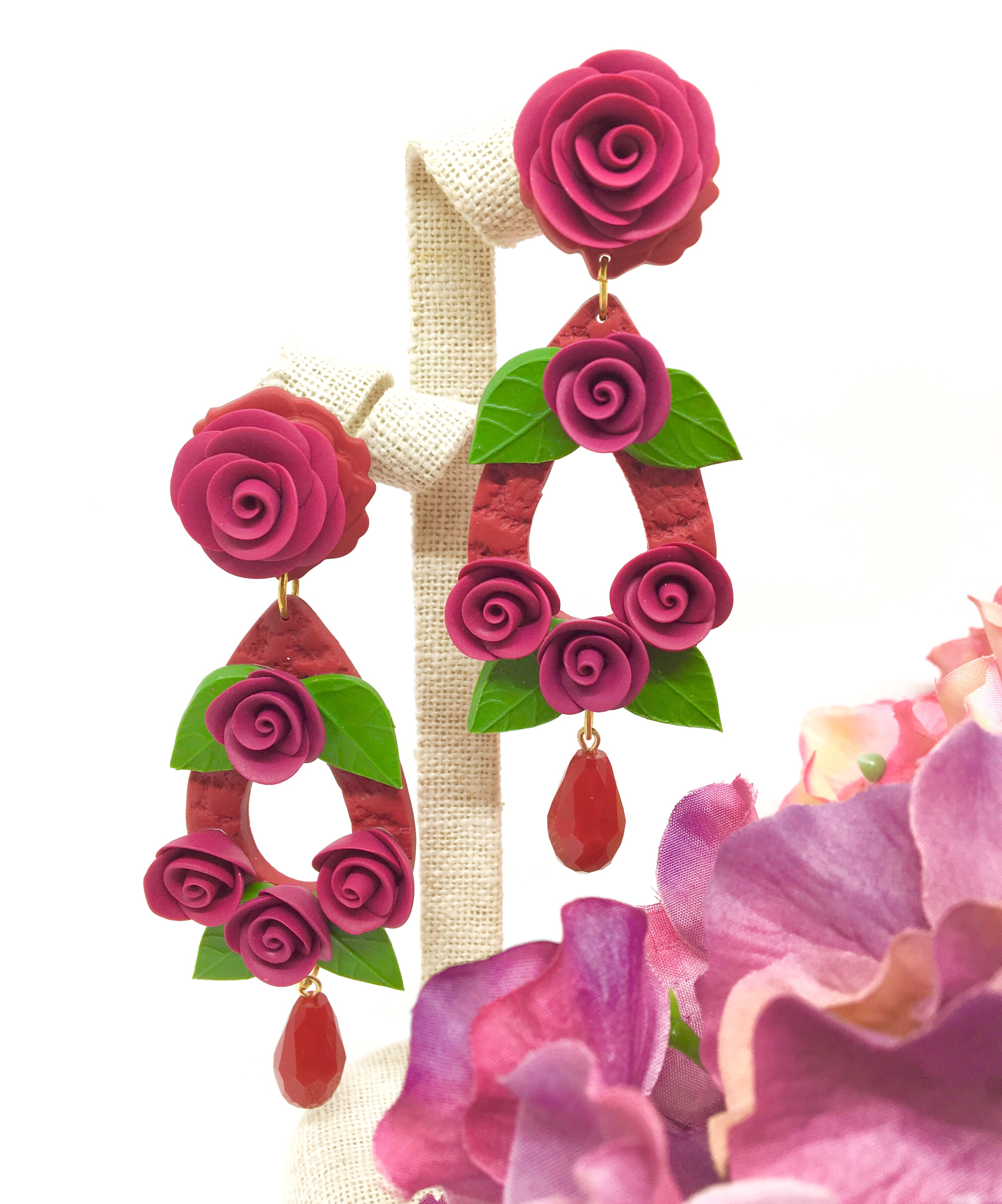 Roses on teardrop shape earrings