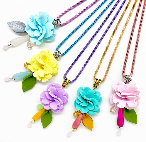 Long Flower Necklace in Spring Shades