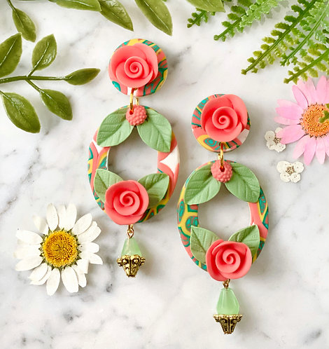 La Dolce Vita Romantic Rose Statement Earrings