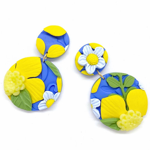 Circle Blue and Yellow Flower Pattern Earrings