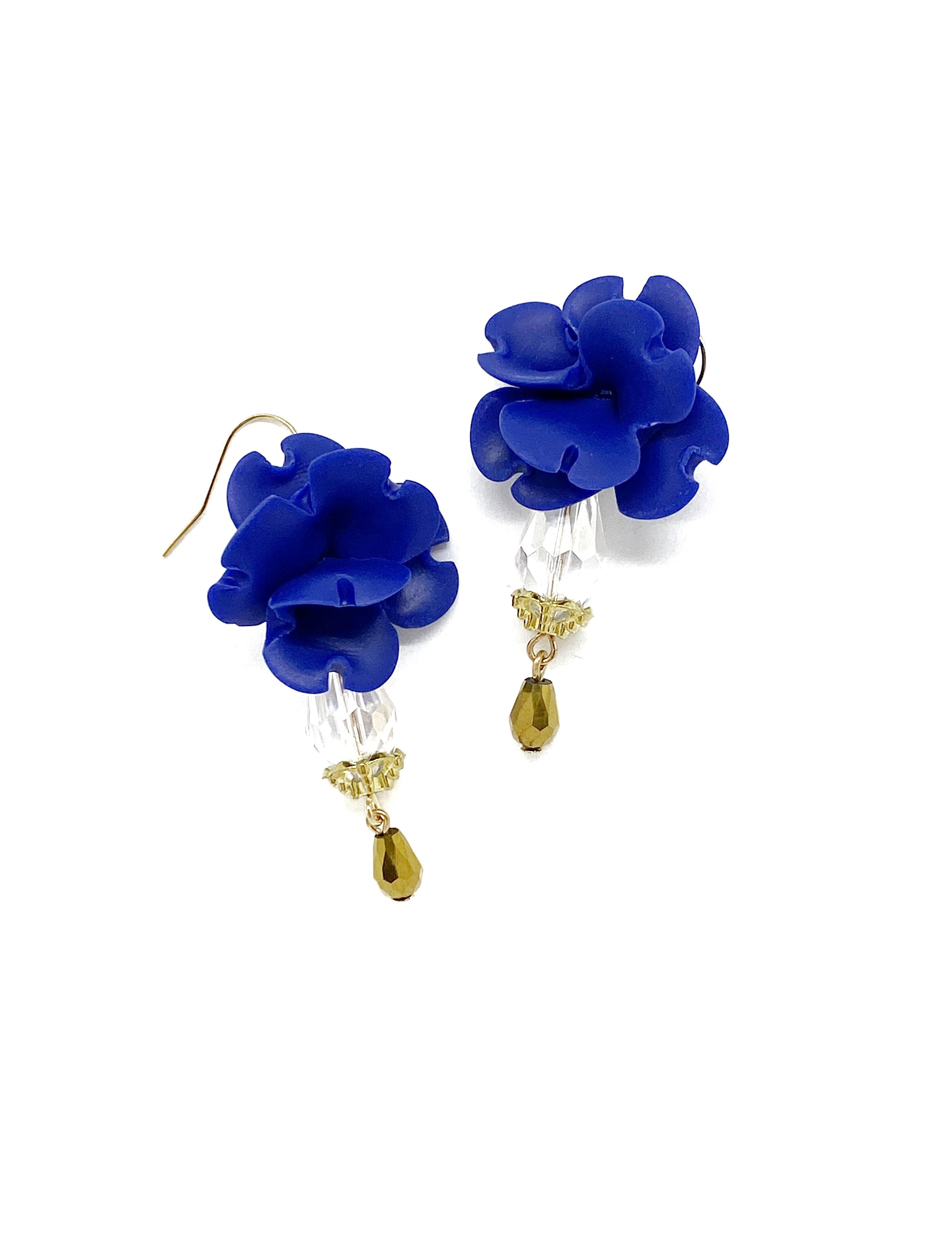 small flower earrings; cobalt blue; poly