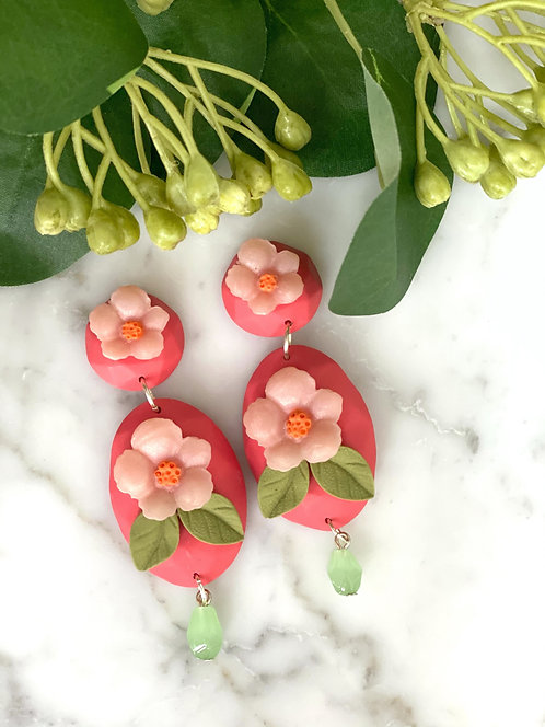 Oval Coral and Pink Flower Statement Earrings