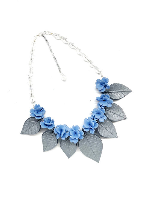 Small Blue Flowers and Silver Leaves Statement Necklace