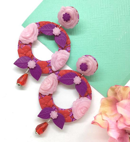 Big Round Stud Earrings with Flowers