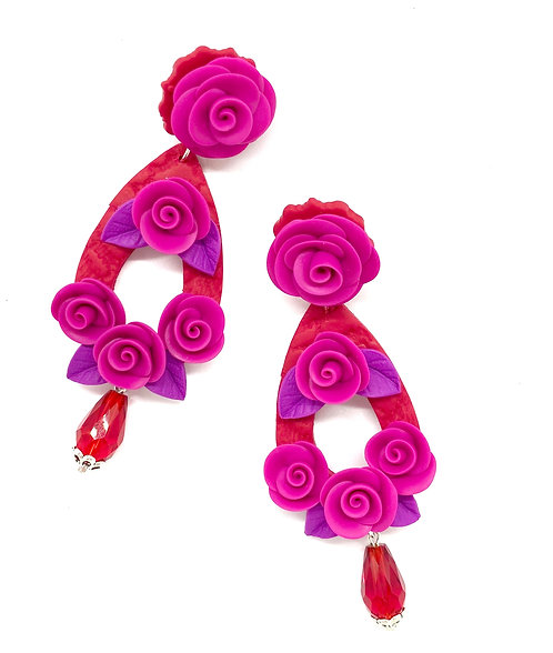 Roses with Long Teardrop and Bead Statement Earrings