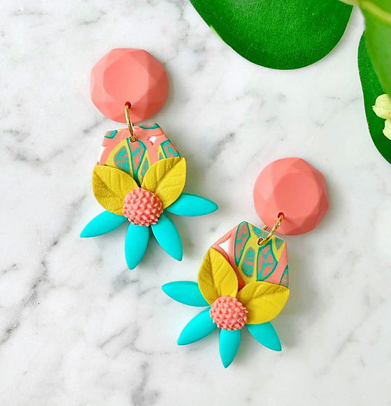 colorful flower statement earrings