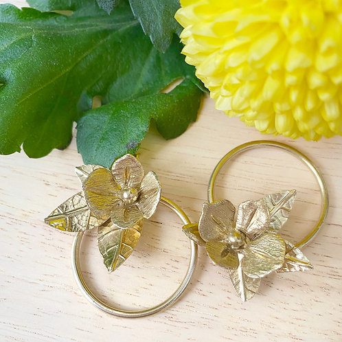 Leaves and Flowers Brass Hoop Earrings with Sterling Silver Post