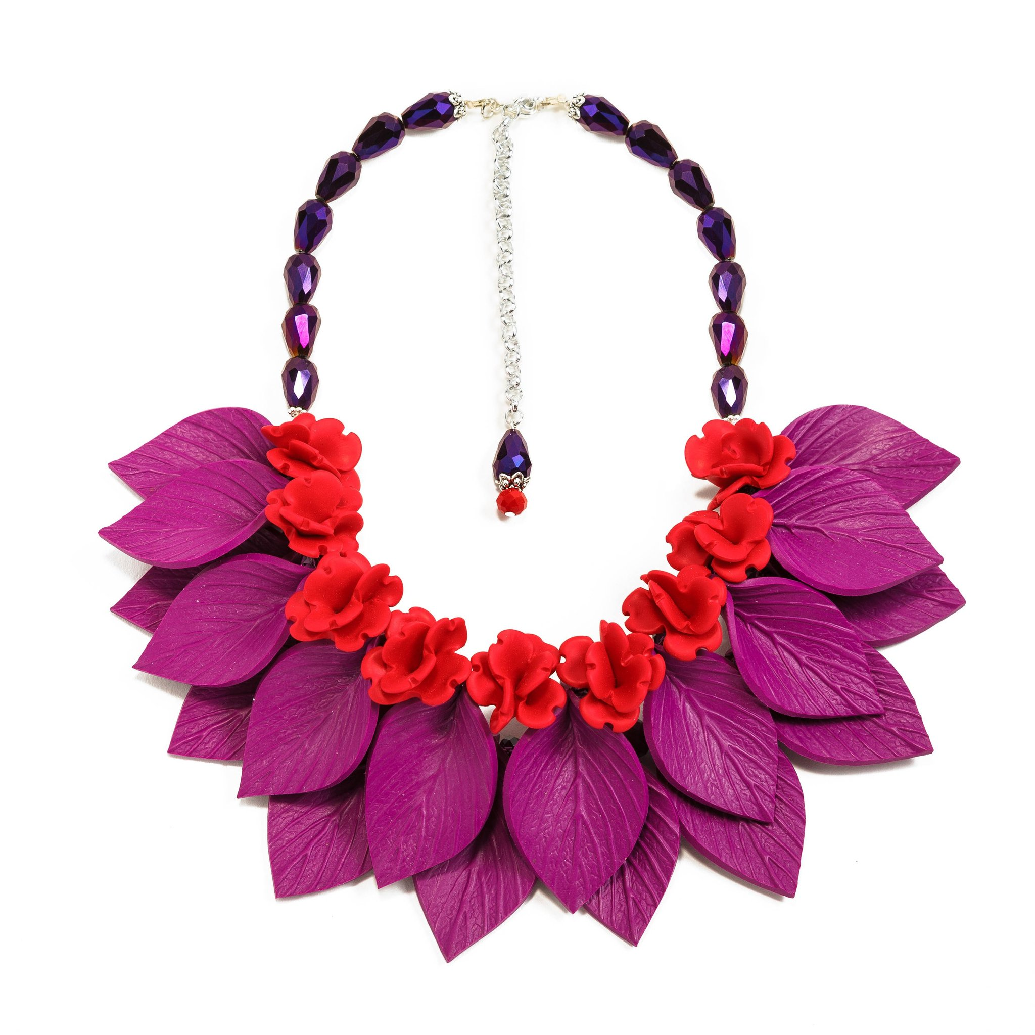 Red flowers purple leaves necklace