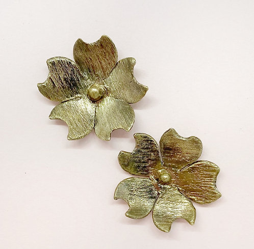 Textured Flower studs with Sterling Silver ear posts