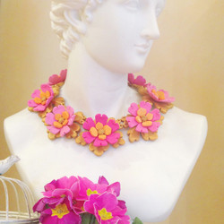 Golden and pink statement necklace