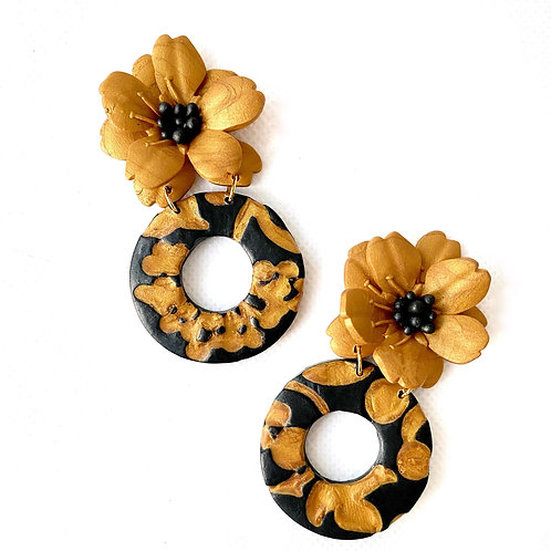Gold and Black Petunia Earrings