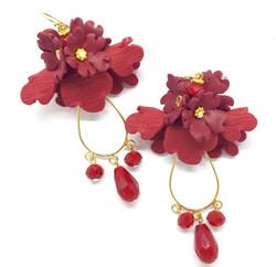 Folded flower earring with teardrops