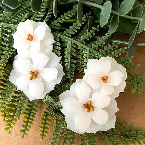 White Double Petunia Flower Earrings