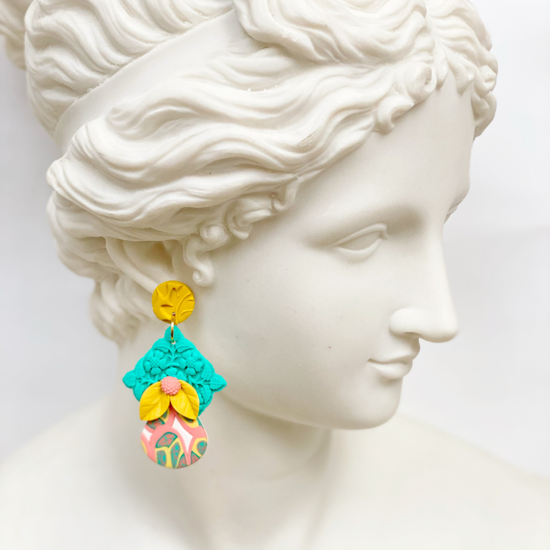 Flowers and Fruit Statement Earrings