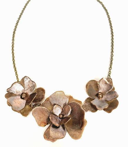 Three Flowers, Bronze Statement Necklace