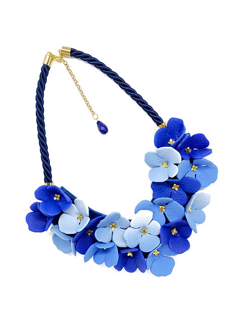 Hydrangeas inspired Statement Necklace on a Navy Blue Rope