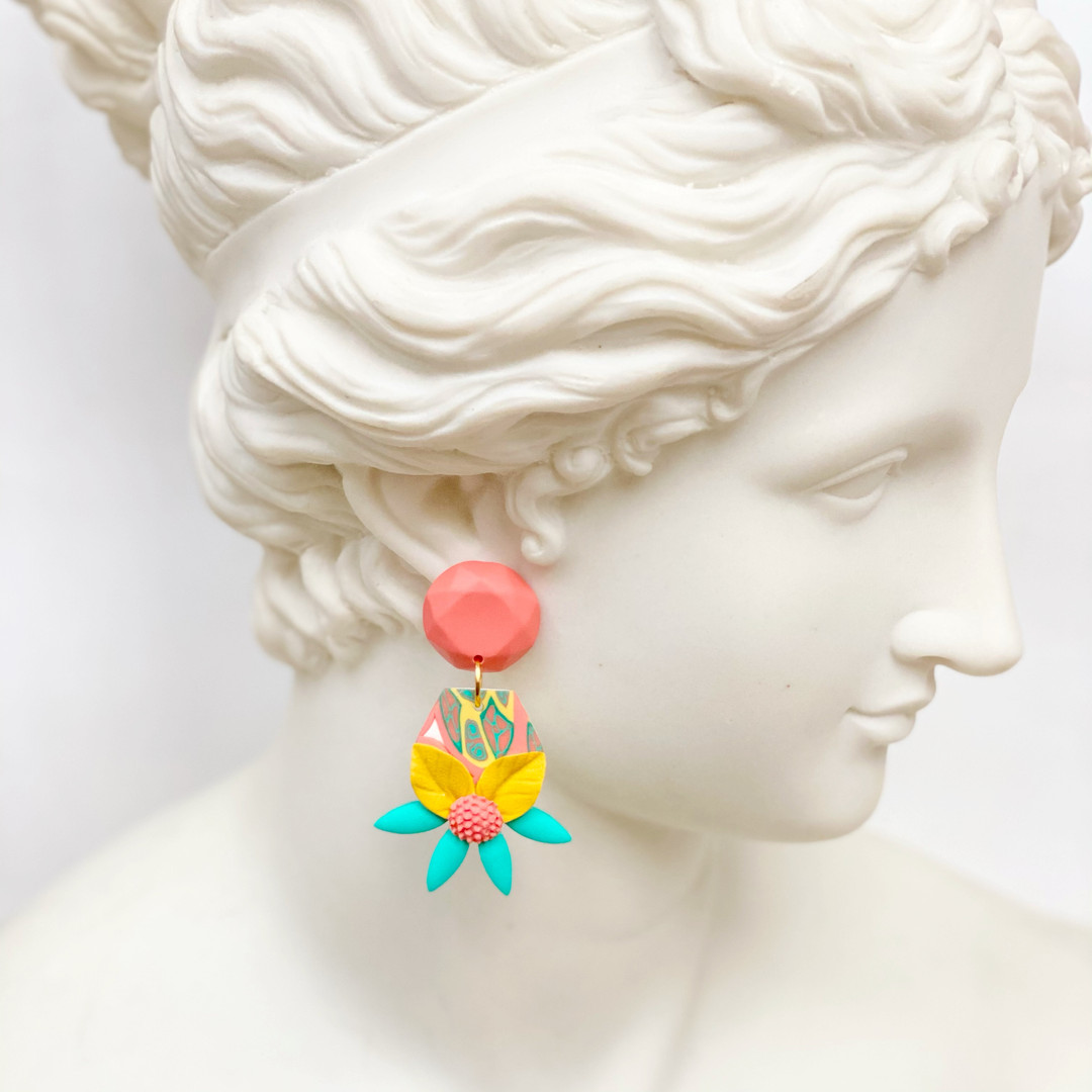 Flower and Jewel Statement Earrings