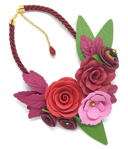 Burgundy Floral Necklace with Leaf Details