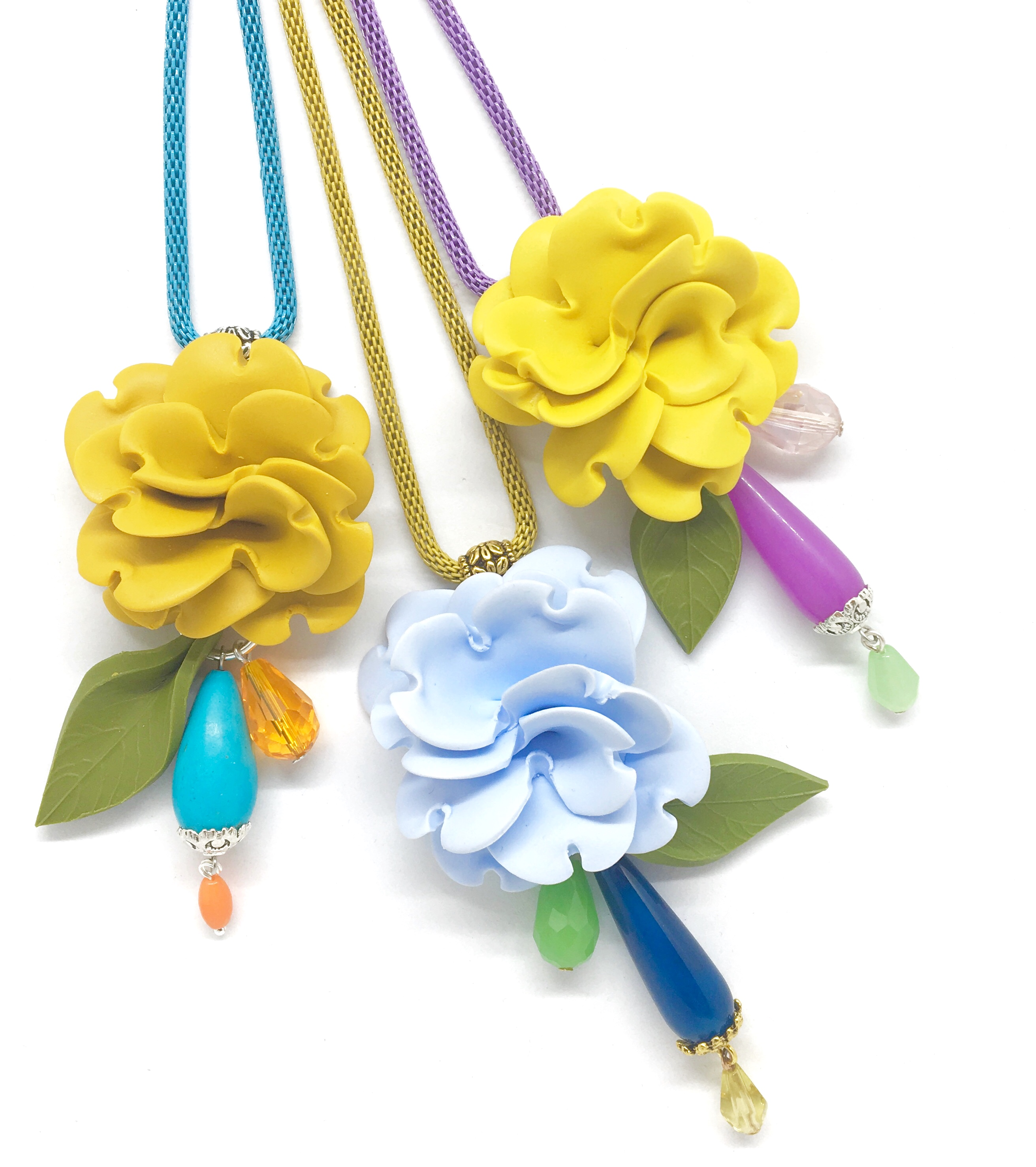 Flower necklaces different colors
