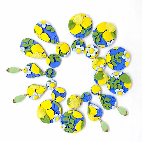 Blue and Yellow Flower Pattern Earrings