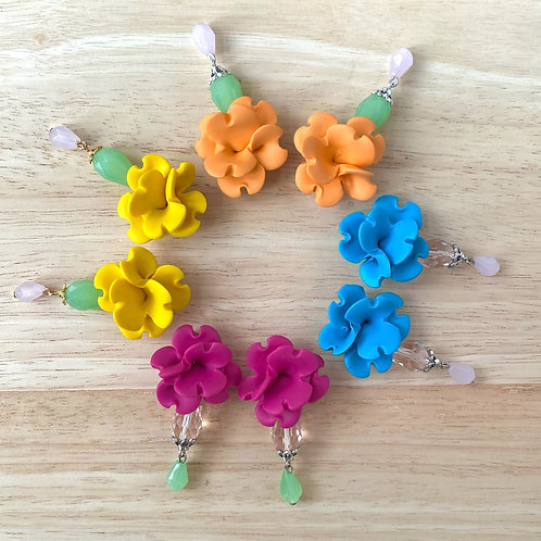 Colorful Statement Earrings with Glass beads