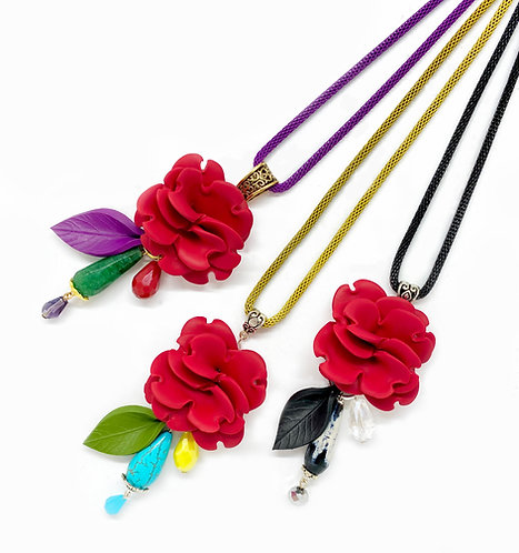 Long Flower Necklace in Red